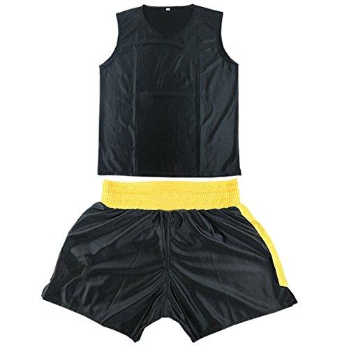BOZEVON Unisex Kids Adult Boxing Uniform Clothes 2 Pieces Set Top Short Martial Arts Suits, Black