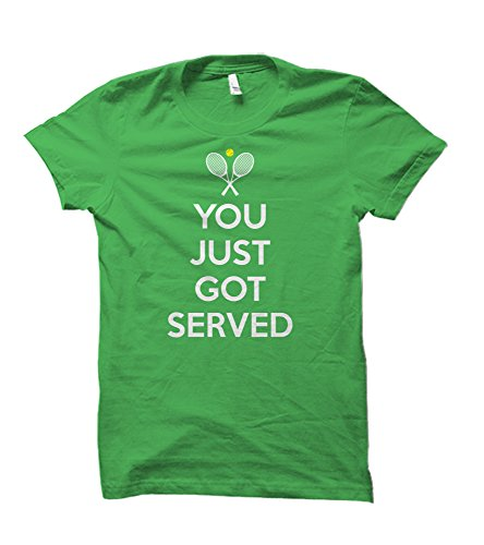 Tennis You Just Got Served Dryblend 50 50 Adult T Shirt  Large  Electric Green