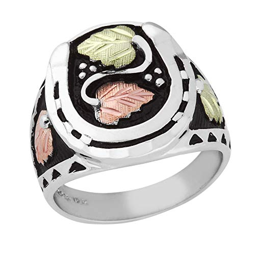 Antiqued Mt.Rushmore Black Hills Silver Mens Horse Shoe Ring with 12k Gold ()