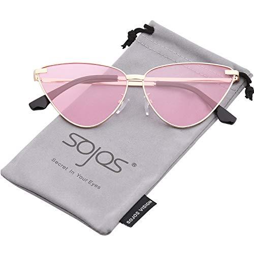 SOJOS Cat Eye Metal Frame Sunglasses Vintage Mirrored Women Sunglasses SJ1091 with Gold Frame/Transparent Pink Lens