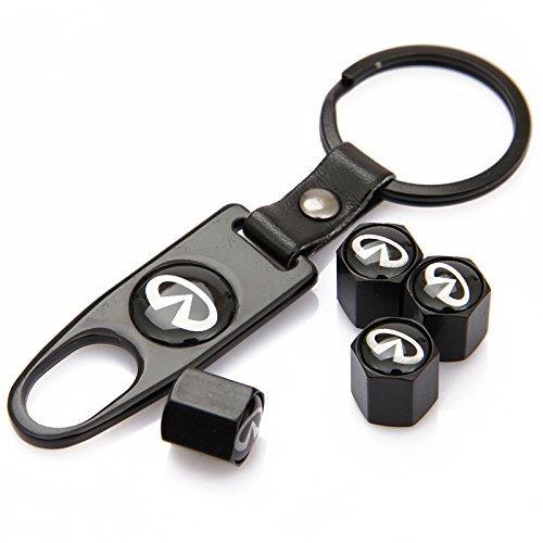 Czlpv Black Car Wheel Tire Valve Caps Tyre Stem Air Caps Keychain Styling For Infiniti