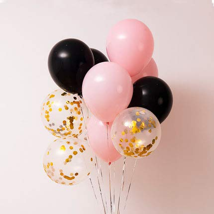 Pink and Gold Confetti Balloons,40 pcs Pastel Pink Balloons Black Balloons Gold Confetti Balloons Pastel Party Decorations, Pastel Birthday Decorations for Girls,Pastel Baby Shower Decorations -