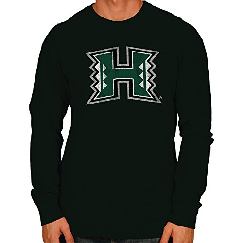 NCAA Hawaii Rainbow Warriors Men's Long Sleeve Tee, Large, Forest (Green Green Warriors Hawaii)