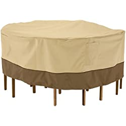 Classic Accessories Veranda Round Patio Table & Chair Set Cover - Durable and Water Resistant Outdoor Furniture Cover, Large (78942)