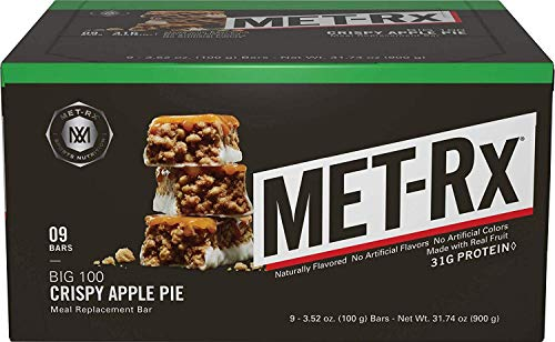 (MET-Rx Big 100 Colossal Protein Bars, Great as Healthy Meal Replacement, Snack, and Help Support Energy, Gluten Free, Crispy Apple Pie, 100 g, 16 Count (16 Count))