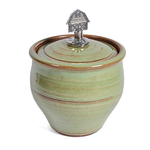 Oregon Stoneware Studio Sugar Bowl with Pewter Barn Finial, Pistachio
