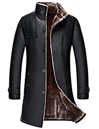K3K Men's New Winter Thicken Sheepskin Jacket Faux Fur Leather Long Trench-Coat