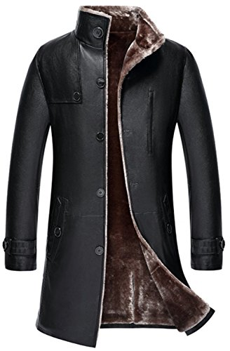 K3K Men's Classic Winter Thicken Faux Fur Lambskin Leather Jacket Parka Outdoor Windproof Long Trench-Coat Warmth Lamb Wool Lining (Black, US Large(Asia Tag XXL))