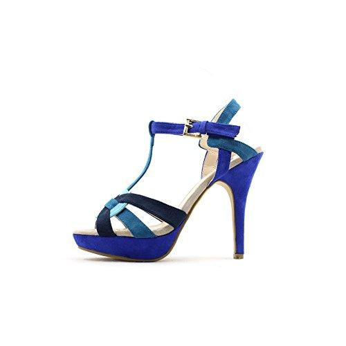 Ffc New York Donna Alexia Tacco Alto In Pelle Scamosciata Moda Sandali Blu Multi