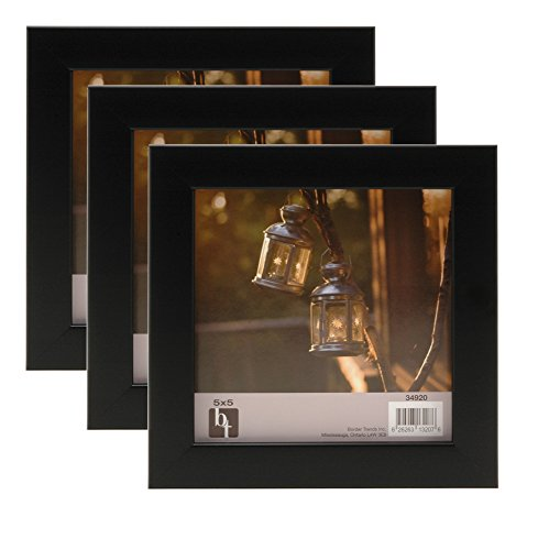 BorderTrends Echo 5x5-Inch Square Photo Frame, Matte Black (3-Pack)