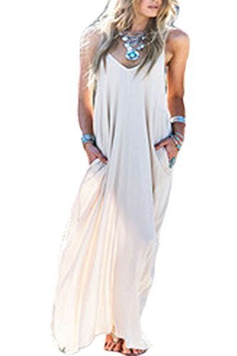 YACUN Mujeres Hippie Boho Vestidos Correa Profundo Cuello En V Loose Long Dress White