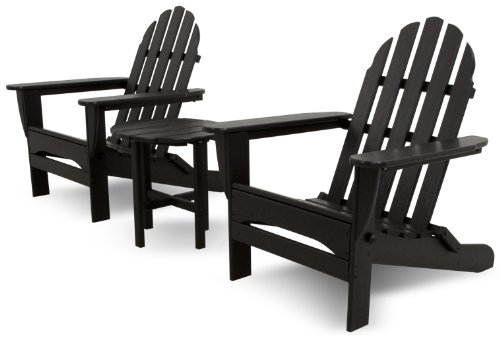 Ivy Terrace IVS118-1-BL Classics 3-Piece Folding Adirondack Set, Black