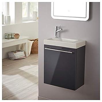 Planetebain Mueble lavamanos Completo Color Gris Antracita Lacado con Grifo Monomando Agua Caliente/Agua fría: Amazon.es: Hogar