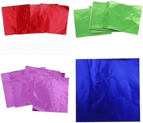 菓子製品 包ん飾る アルミ箔材料 新年パーティ、結婚式、日常生活に最適 - 赤/緑/青/パープル, 8×8cm