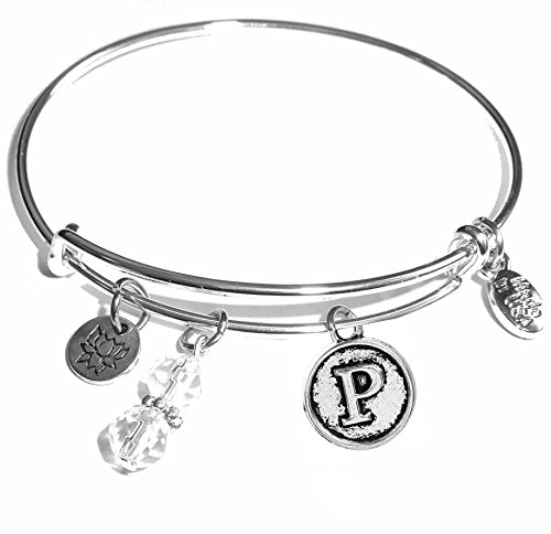initial expandable wire bangle bracelet in
