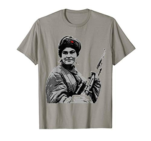 Russian female sniper ww2 vintage poster T shirt