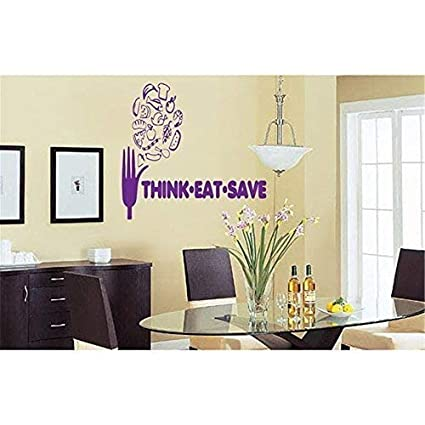 Amazon.com: Think Eat Save Kitchen Dining Room Quotes Wall ...