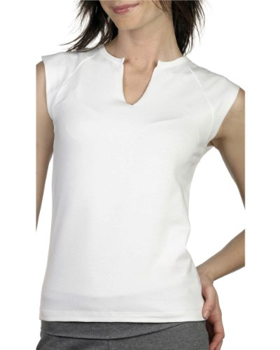 Boatneck Raglan Tee - Bella Women's Cotton/Spandex Split-V Raglan T-Shirt B820, Medium, White