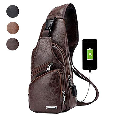 Mens Vintage Leather Sling Bag Crossbody Casual Business Purse Shoulder Bag with USB Charging Port Dark Brown