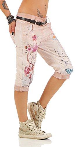 Zarmexx Pantacourt Chinoise Jeans 12299 Jeggings Impression Fantasy Large Boyfriend Femme Rose Pour rgTrxAq