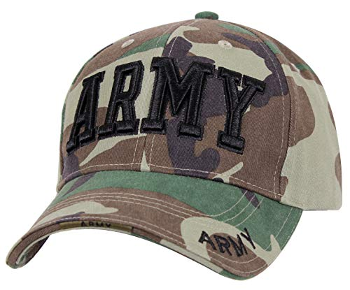Insignia Camo - Rothco Deluxe Army Embroidered Low Profile Insignia Cap, Woodland Camo, One Size