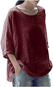 Tops for Women Summer Casual 3/4 Sleeve Blouse Shirts Breathable Cotton Linen Tshirt Tops Plus Loose Tees