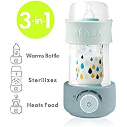 BEABA Quick Baby Bottle Warmer, Steam Sterilizer, Baby Food Heater (3-in-1) Warm Milk in Just Two Minutes, BPA and Lead Free, Simple Temperature Control, Fits All Bottle Sizes - Even Wide Neck, Cloud