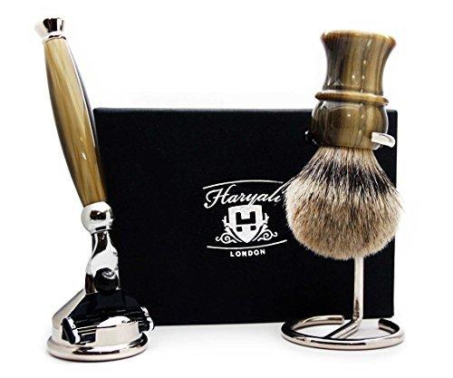 Sliver Tip Badger Hair Brush, Gillette Mach 3 razor,Razor Stand & Brush Stand.