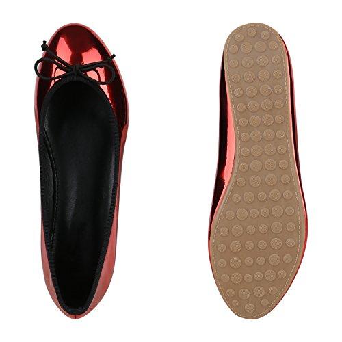 Damen Klassische Ballerinas Glitzer Schuhe Flats Pailletten Strass Lack Ballerina Slipper Schleifen Metallic Slip Ons Spitze Flandell Rot Metallic Schwarz