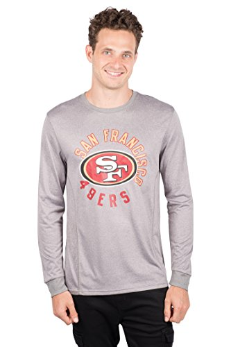 ICER Brands NFL San Francisco 49ers T-Shirt Athletic Quick Dry Long Sleeve Tee Shirt, Large, Gray