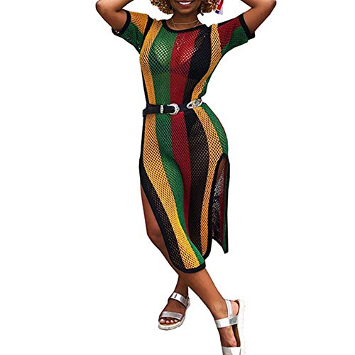 Womens Mesh Hollow Out Striped Colorful Rainbow Fishnet Crochet Midi Dress Cover Up with Split S