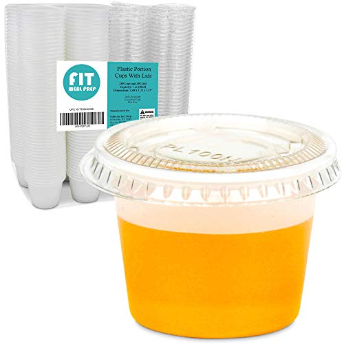 [250 Pack] 1 Ounce BPA-Free Plastic Portion Cup with Clear Lids Disposable Jello Shots Sauce Condiment Souffle Dressing Mini Containers