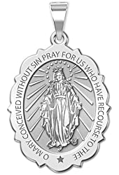 Miraculous Medal Scallopped Oval 10K And14K Yellow or White Gold, or Sterling Silver