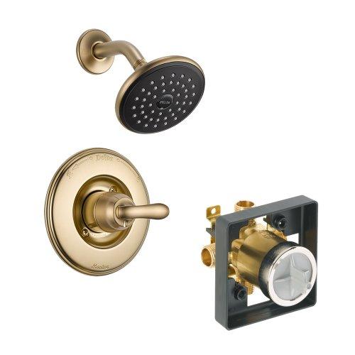 Delta Delta KSDLI-T14294-CZ Linden Shower Kit Pressure-Balance Single-Function Cartridge, Champagne Bronze Champagne (5 Metal Lever Handles)