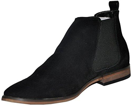 Rebellum bottines noires cuir nubuck homme chelsea boots r3803-bk