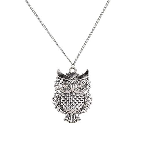 Jin Sheng 925 Silver Plated Hollowed-Out Owl Pendant Charm Long Necklace for Women Girls