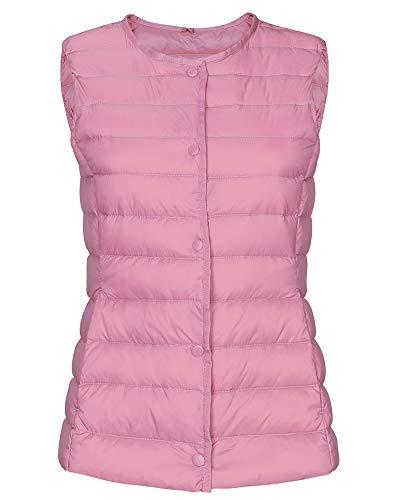 Plume Vestes Gilet Manches Manteau Femmes Zhuikuna D'hiver Chaud Pour Sans Clair De Sport Rose Packable Veste pTd4qEx