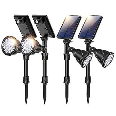 ROSHWEY Solar Spot Lights Outdoor Motion Sensor Waterproof Ground Light Wireless 360 ° Adjustable Lighting Super Bright 18 Big LED 4 Modes Security Lamp Auto On/Off