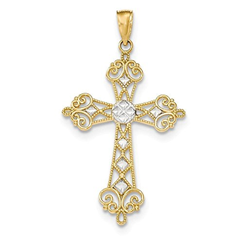 14k Gold & Rhodium Polished Diamond-cut Cut-out Cross Pendant