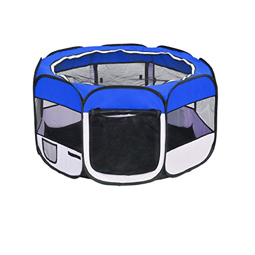 FIRSTWELL Portable Puppy Playpen Pet Pen for Dogs Cats Rabbits Small Animals,Indoor Outdoor, 48 x 48 x 24 inch, 4 Colors (Blue) Review