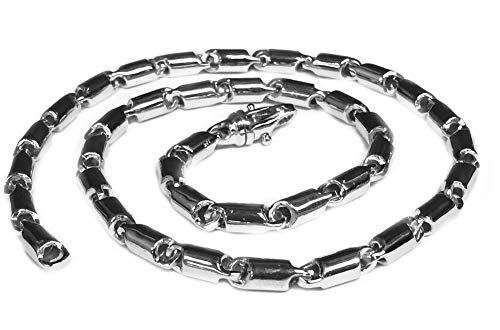 14k white gold Cylinder Tube Link Men's chain necklace 30