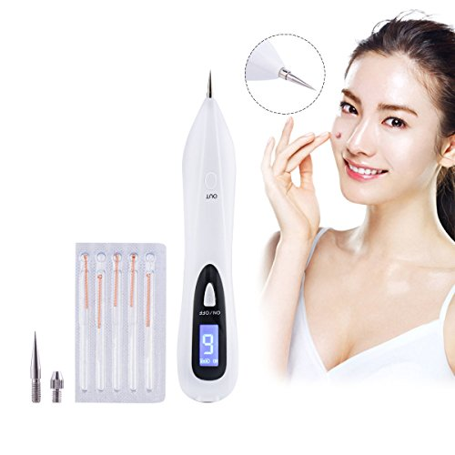 CkeyiN Electric Portable Spots Freckle Nevus Mole Wart Tattoo Removal Pen LCD Display Beauty Devices with Replaceable Needles
