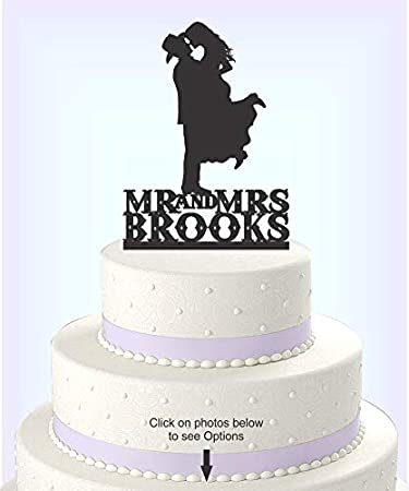 Country Western Wedding Cake Topper Silhouette Cowboy With Hat Both Wearing Boots Personalized Name
