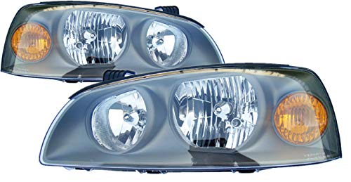 For 2004 2005 2006 Hyundai Elantra Headlight Headlamp Assembly Driver Left and Passenger Right Side Pair Set Replacement HY2502130 HY2503130 ()