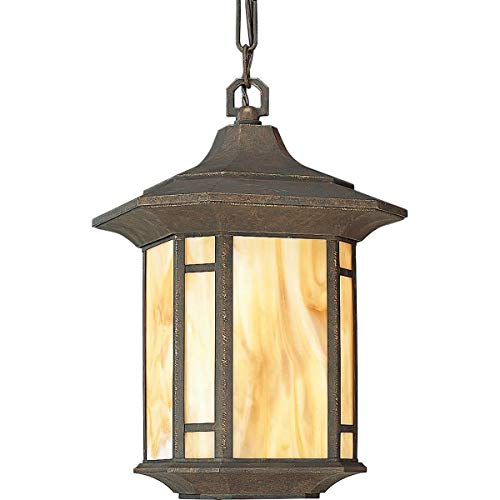 Progress Lighting P5528-46 1-Light Post Lantern with Honey Art Glass and Mica Accent Panels, Weathered Bronze