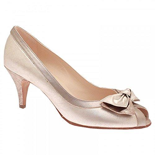 Peter Kaiser Bow Detail High Heel Peep Top Court Shoe Silver Multi