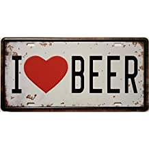 ERLOOD I Love Beer Retro Vintage Auto License Plate Tin Sign Embossed Tag Size 6 X 12
