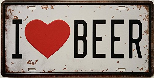 - ERLOOD I Love Beer Retro Vintage Auto License Plate Tin Sign Embossed Tag Size 6 X 12