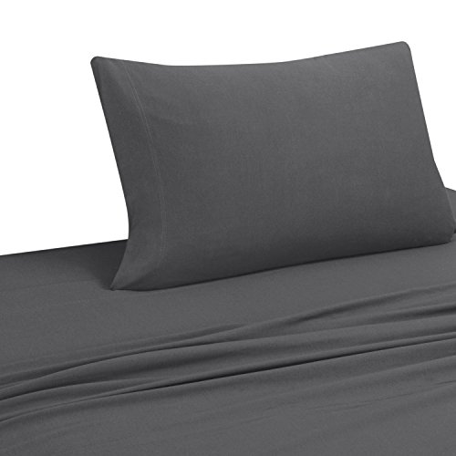 DELANNA Jersey Knit Sheet Set Soft Breathable T-Shirt Weave (GREY, TWIN XL)