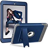 "Hocase iPad 5th/6th Generation Case with Kickstand, Heavy Duty Shockproof Protection Hybrid Dual Layer Protective Rubber Hard Case for 9.7"" iPad A1822/A1823 (2017)/iPad A1893/A1954 (2018) - Navy Blue"